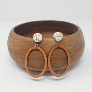 New Handmade | Floral Wooden Oval Earrings